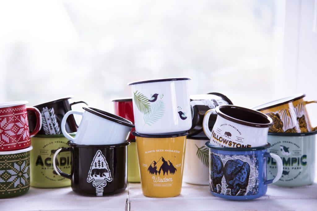 custom coffee enamel mugs