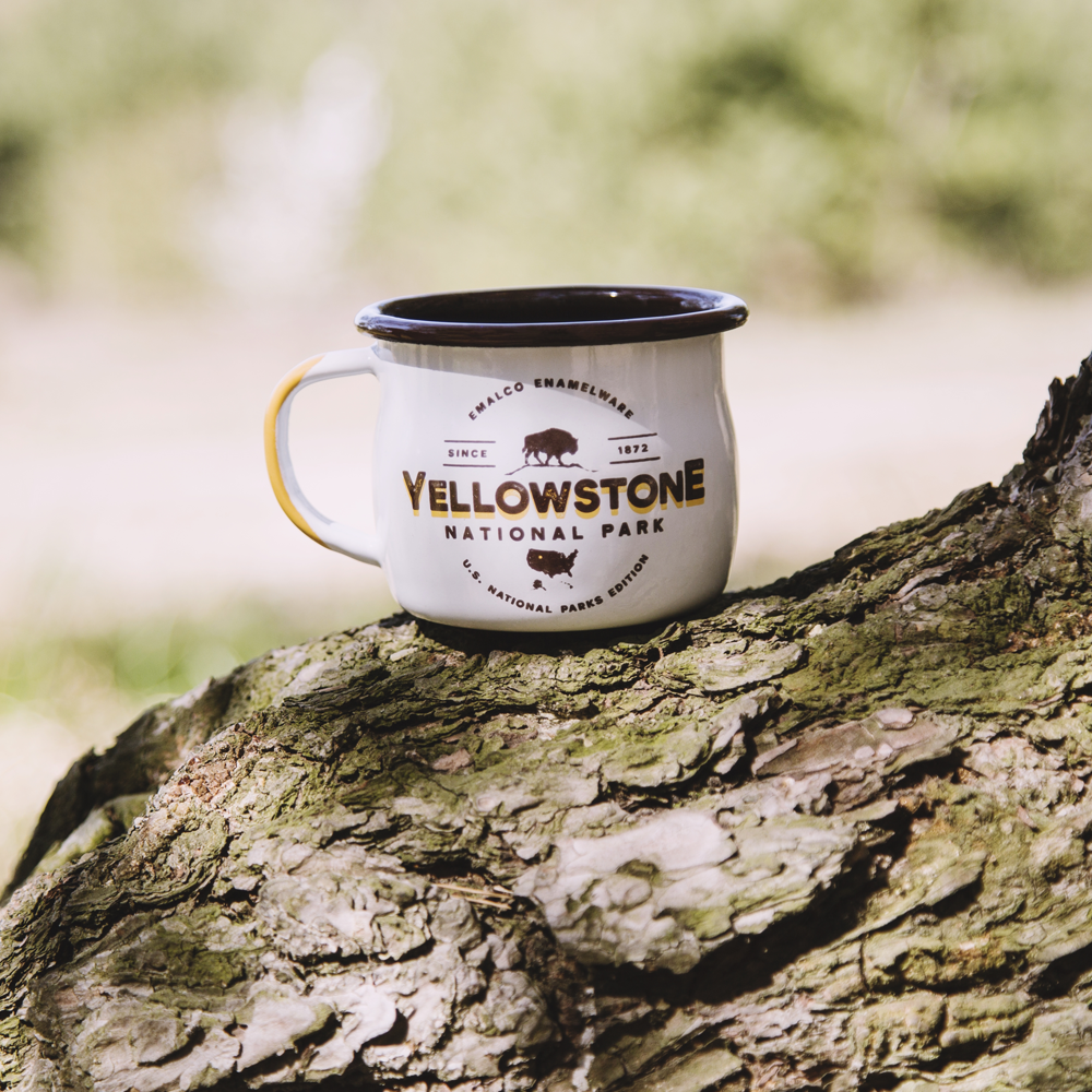 enamel mug yellow stone